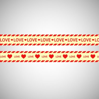 Simple vector warning tape love content on a gray