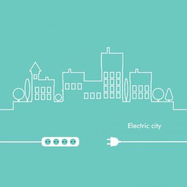Concept electric circuit city. Vector flat design. clip art vector