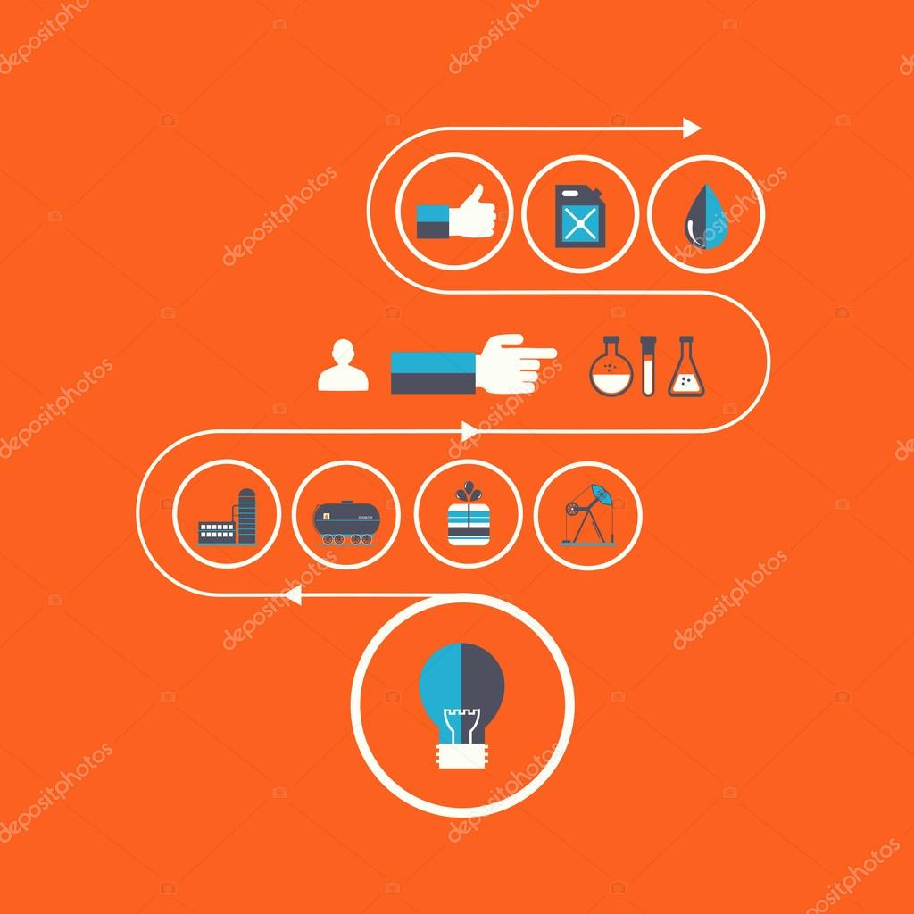Set vector icons of fuel and petroleum industries