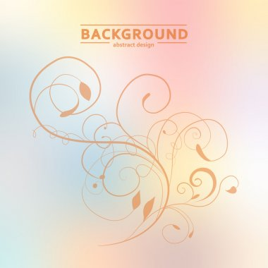 Floral vector ornament on blurred background eps