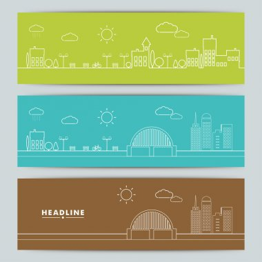 Set of banners with urban landscape