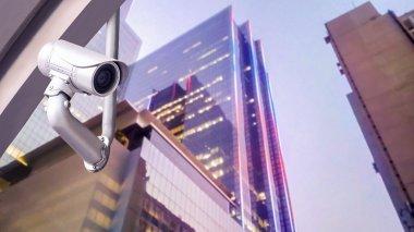 CCTV camera or surveillance system on city buildings
