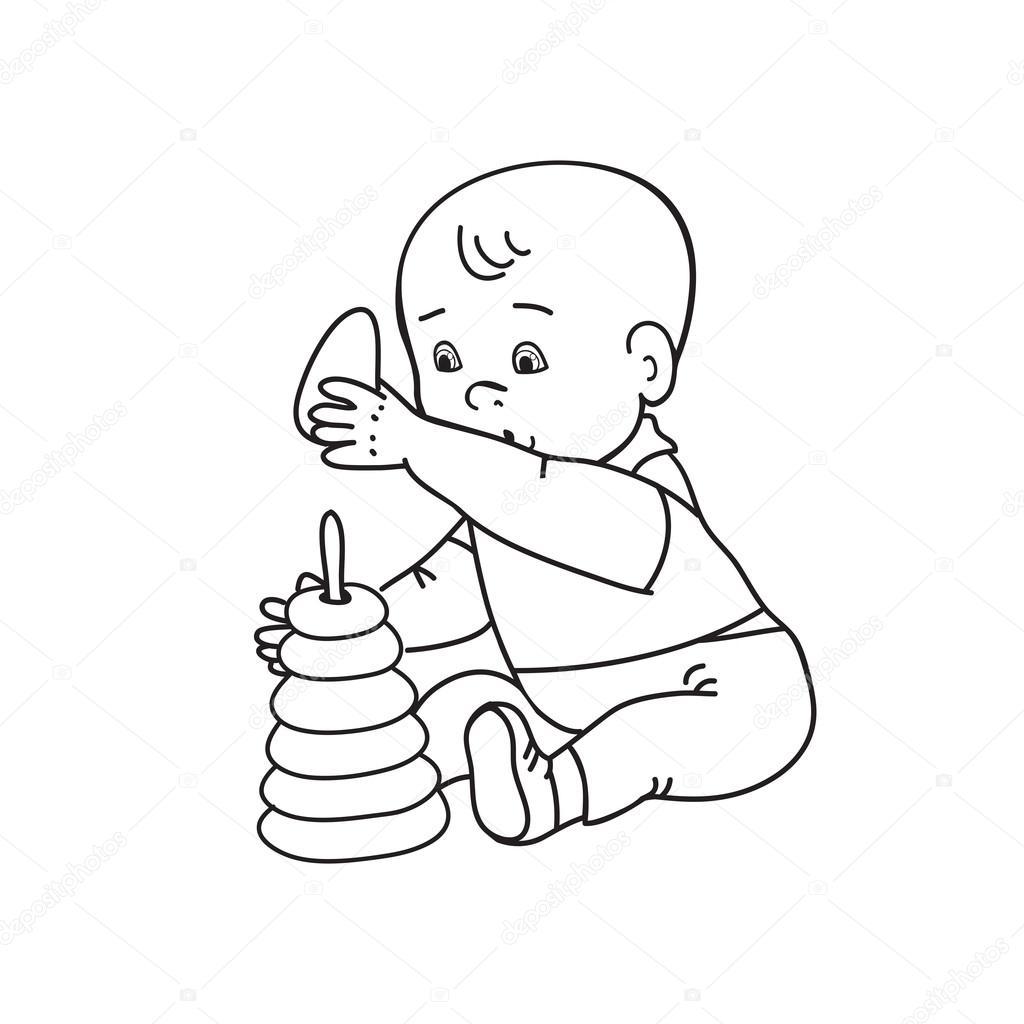 mooie baby jongetje spelen met speelgoed speelt met