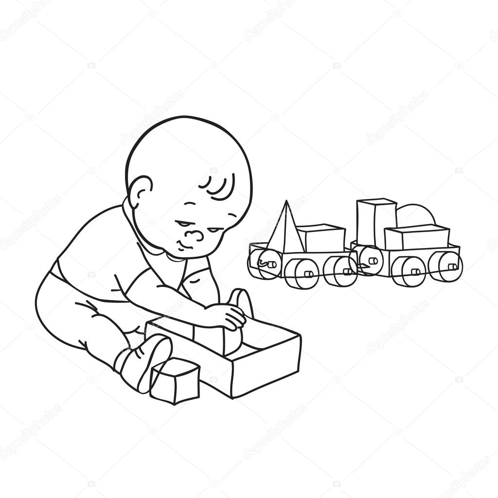 Boy Toys Drawing : Little lovely baby boy playing with toys kid plays