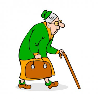 Old woman with cane and a bag. Grandmother with glasses walking. Hunched elderly lady with a cane. Colorful cartoon vector illustration on white background