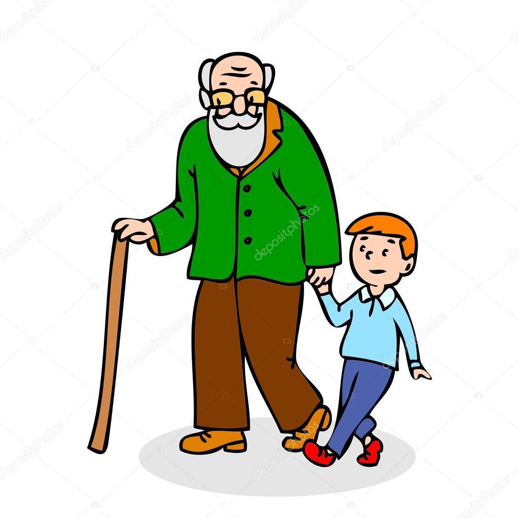 Abuelo con su nieto. Gracioso anciano con poca caña y con niño ...