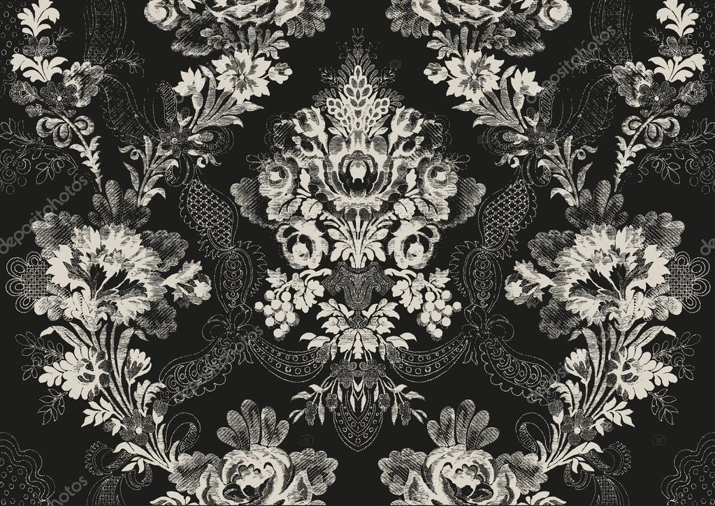 18 Abstract hand-drawn floral seamless pattern, vintage background