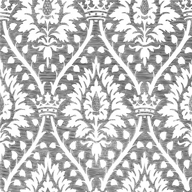 Abstract hand-drawn floral seamless pattern with crown, vintage background