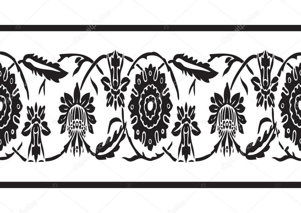 Vector transparente de blanco y negro frontera vintage fondo floral ...