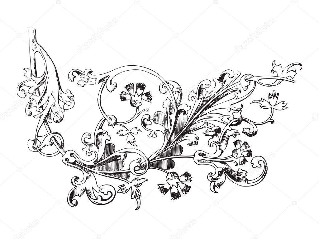 Hand drawn illustration of twig with flowers and leaves Baroque vector.