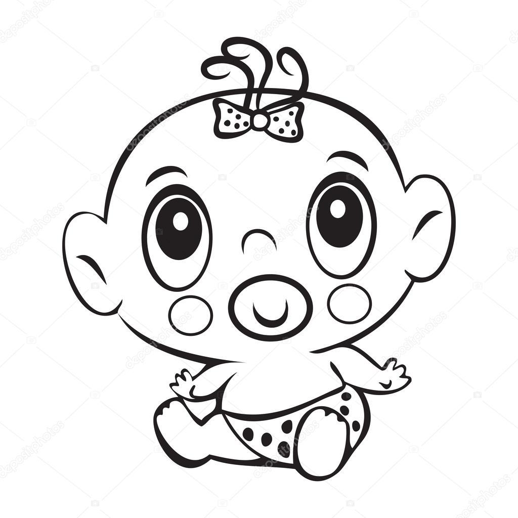 Bebé divertido. Cute niña sentada en un pañal aislado — Archivo ...