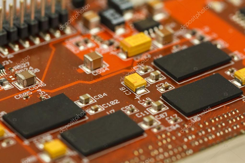 printed circuit board with ics, chip capacitors, tantalum resistors printed circuit board with ics, chip