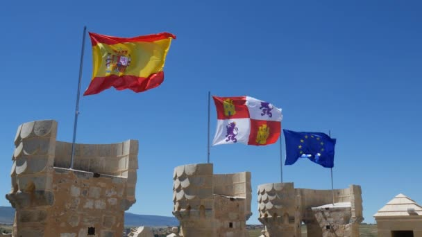 Flags Weaving On Castle Tower Stock Video C Arsenyg 116739344