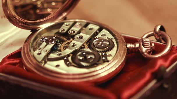 Old golden clock mechanism