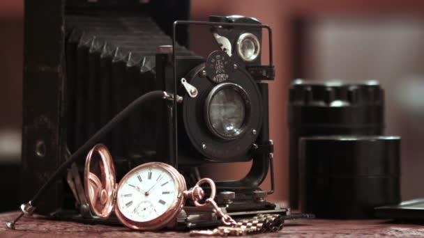 Golden Vintage antik órákat fotókamerával
