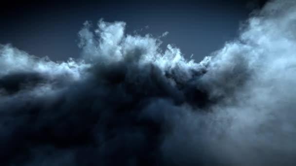 Noční let nad vysoce detailní mraky