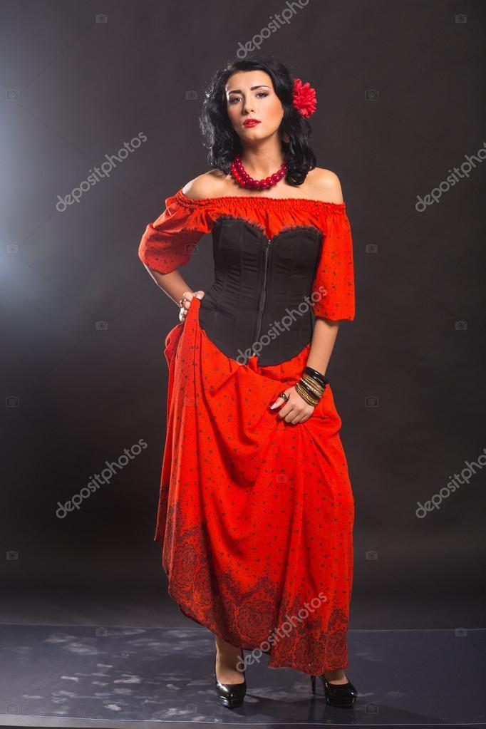 Chique Rode Jurk.Het Beeld Chique Sexy Spanjaard Chique Sexy Vrouw In Een Rode
