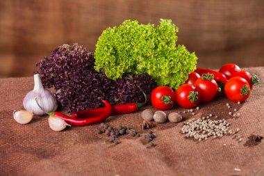 Fresh vegetables on sacking background