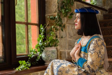 woman in medieval dress in antique interior