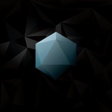 Abstract Black low poly background with blue geometric diamond hexagonal shape