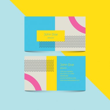 Material design business card template with 80s style background. Modern retro elements and geometric shapes.