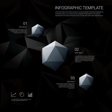 Black low poly background with infographics menu options for business presentations. White geometric diamond hexagonal shapes.