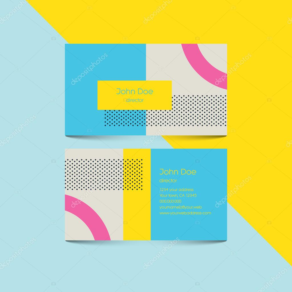 Material design business card template with 80s style background ...