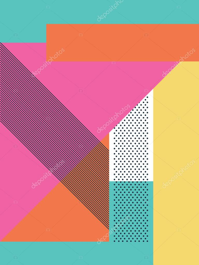 Abstract Retro 80s Background With Geometric Shapes And Pattern Material Design Wallpaper Stock Vector C Micicj 101931288