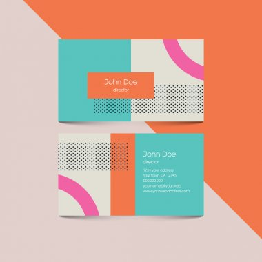 Business card template with abstract retro 80s background, geometric shapes and pattern.