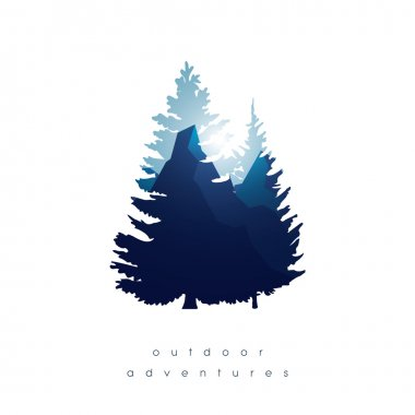 Trees, mountains in double exposure style vector background. Symbol of nature landscape and outdoor adventures.