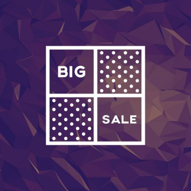 Sale poster with polygonal background and creative typography.