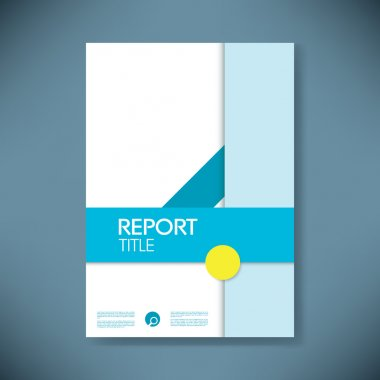 Report cover template in modern material design style with geometric shapes.