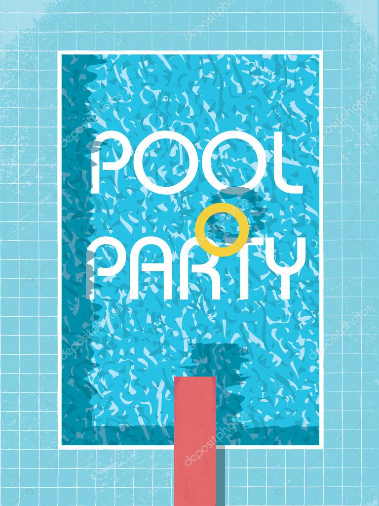 Pool Party Invitation Poster, Flyer Or Leaflet Template. Retro Style  Swimming Pool With Life