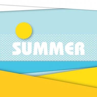 Summer beach landscape illustration in modern material design style.