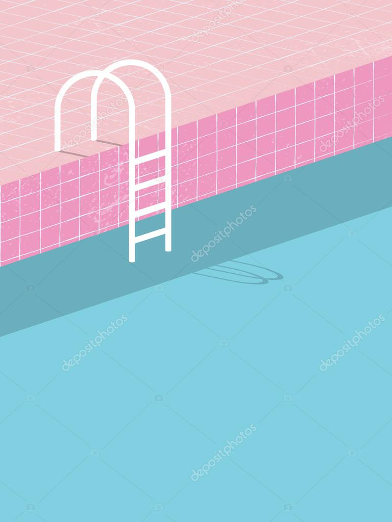 Swimming Pool In Vintage Style Old Retro Pink Tiles And White Ladder Summer Poster Background Template Holiday Resort Eps10 Vector Illustration