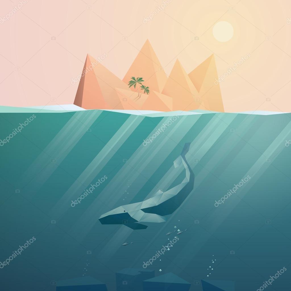 Summer background with underwater seascape scene and sunbeams in the ocean.