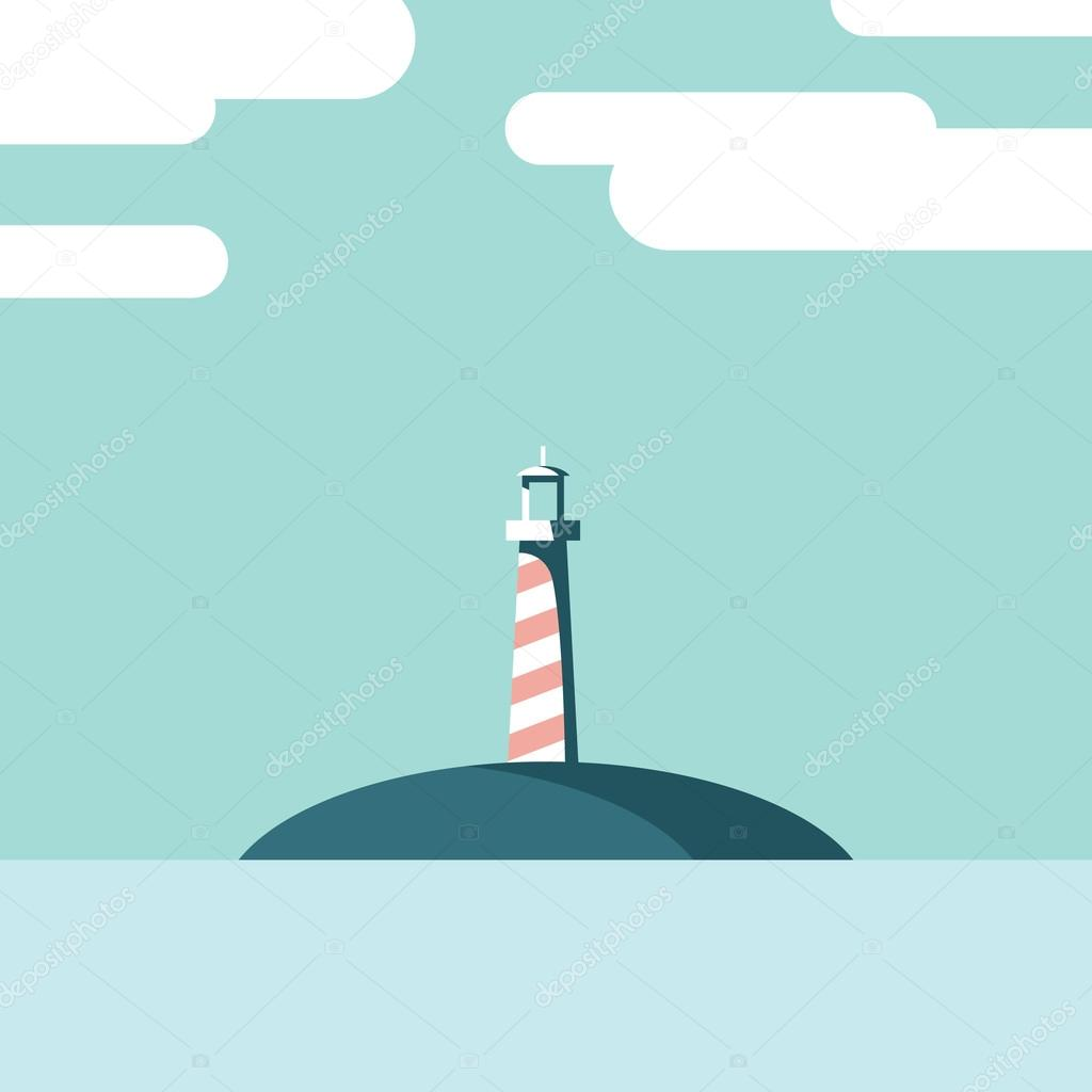 Lighthouse on an island landscape vector illustration. Summer holiday postcard template in modern flat design, artistic style.