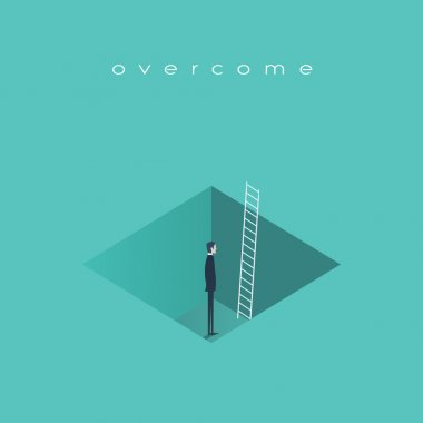 Business challenge concept, man standing in a hole with ladder. Finding solution, recover from crisis symbol.
