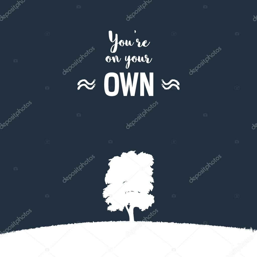 Lonely Tree On A Grass Hill Vector Illustration Nature Landscape