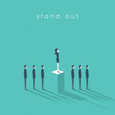 Businesswoman standing out from the crowd business concept with businessmen in line. Talent or special skills symbol.