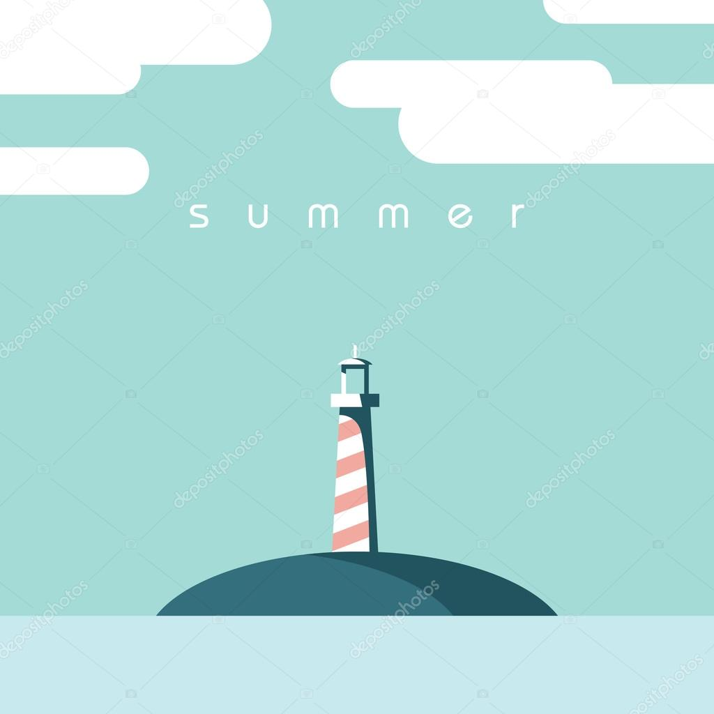 Lighthouse symbol of summer holiday or vacation. Modern flat design postcard template.