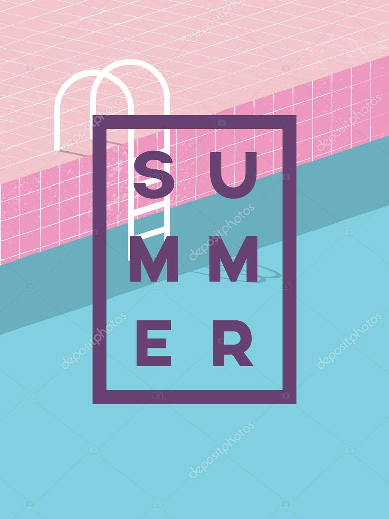 swimming pool logo design. Swimming Pool In Vintage Style. Old Retro Pink Tiles And White Ladder. Summer Poster Background Template. Eps10 Vector Illustration. \u2014 De Micicj Logo Design