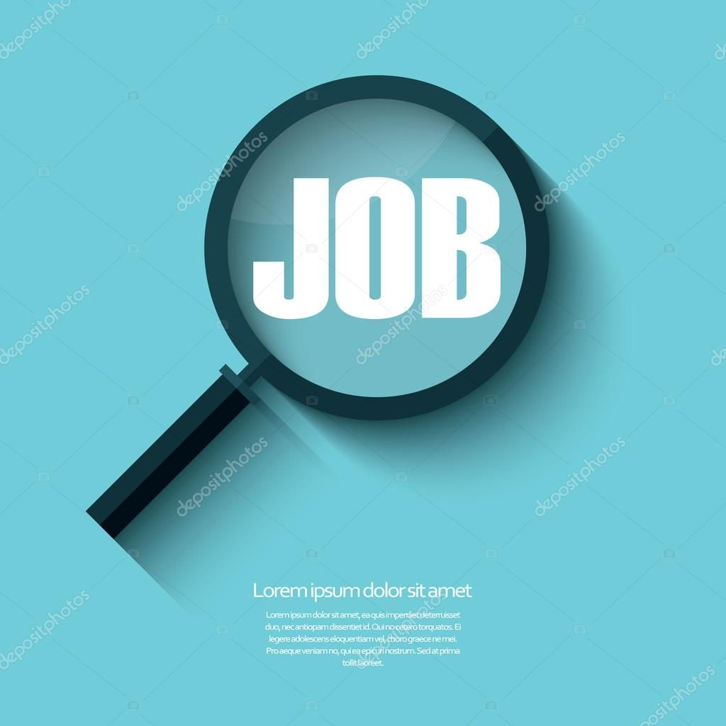 Search for job symbol with magnifying glass in modern flat design.