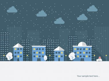 Christmas cityscape card design. Eps10 vector illustration.