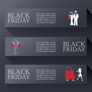 Black friday sales banners in modern design. Eps10 vector illustration