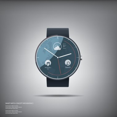 Elegant round smart watch design concept with music player application. Eps10 vector illustration.