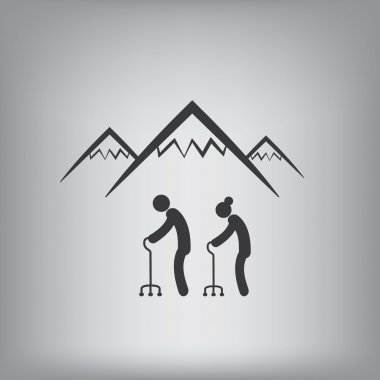Active senior adults hiking in mountains symbol