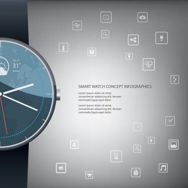 Smart watch concept infographics with round shape and icons for applications.