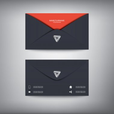 Modern creative business card template in envelope shape, flat design.