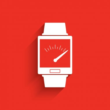 Smartwatch wearable technology symbol with icon for speedometer application.